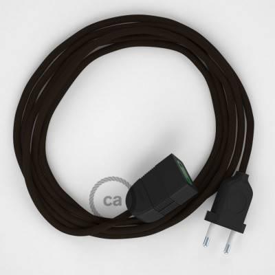 Verlengkabel 2P 10A met rond flexibel strijkijzersnoer RM13 van bruin viscose