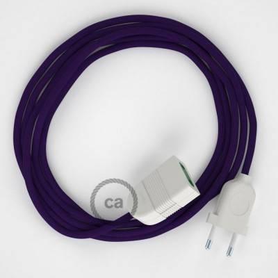 Rallonge électrique avec câble textile RM14 Effet Soie Violet 2P 10A Made in Italy.