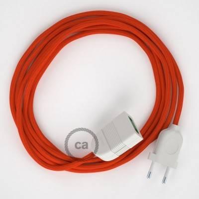 Verlengkabel 2P 10A met rond flexibel strijkijzersnoer RM15 van oranje viscose