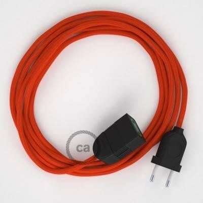 Rallonge électrique avec câble textile RM15 Effet Soie Orange 2P 10A Made in Italy.