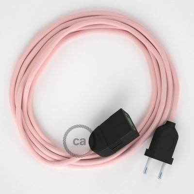 Verlengkabel 2P 10A met rond flexibel strijkijzersnoer RM16 van baby roze viscose
