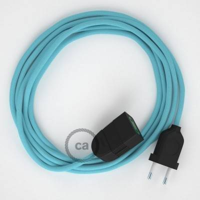 Verlengkabel 2P 10A met rond flexibel strijkijzersnoer RM17 van baby blauw viscose