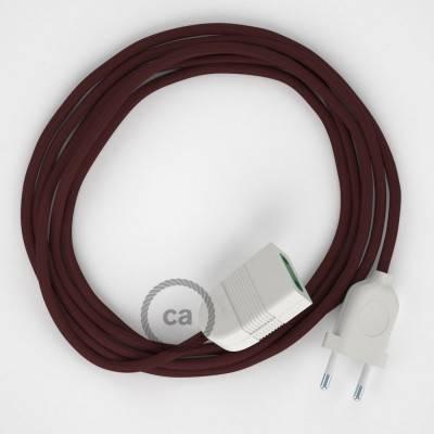 Verlengkabel 2P 10A met rond flexibel strijkijzersnoer RM19 van burgundy viscose