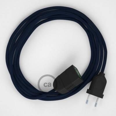 Verlengkabel 2P 10A met rond flexibel strijkijzersnoer RM20 van donkerblauw viscose