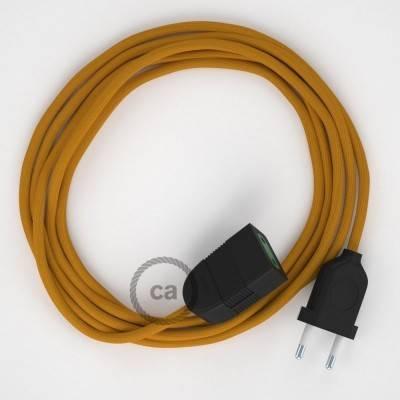 Verlengkabel 2P 10A met rond flexibel strijkijzersnoer RM25 van mosterd viscose