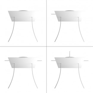 Rose-One compleet vierkant plafondkap-kit 400 mm. met 2 gaten en 4 zijgaten