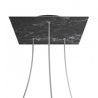 Rose-One compleet vierkant plafondkap-kit 400 mm. met 3 gaten en 4 zijgaten