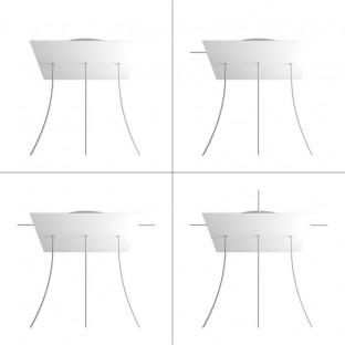 Rose-One compleet vierkant plafondkap-kit 400 mm. met 3 gaten op lijn en 4 zijgaten