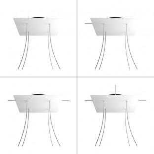 Rose-One compleet vierkant plafondkap-kit 400 mm. met 4 gaten en 4 zijgaten