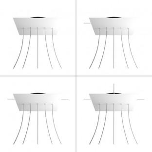 Rose-One compleet vierkant plafondkap-kit 400 mm. met 5 gaten op lijn en 4 zijgaten