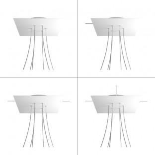 Rose-One compleet vierkant plafondkap-kit 400 mm. met 6 gaten en 4 zijgaten