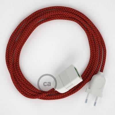 Rallonge électrique avec câble textile RT94 Effet Soie Red Devil 2P 10A Made in Italy.