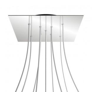 Rose-One compleet vierkant plafondkap-kit 400 mm. met 9 gaten in X vorm en 4 zijgaten