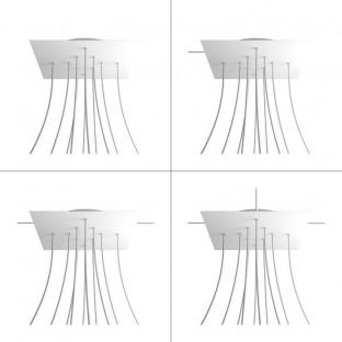 Rosace XXL Rose-One carré de 400 mm avec 10 trous et 4 trous latéraux