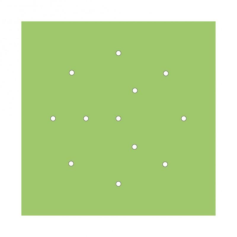 Rosace XXL Rose-One carré de 400 mm avec 12 trous et 4 trous latéraux
