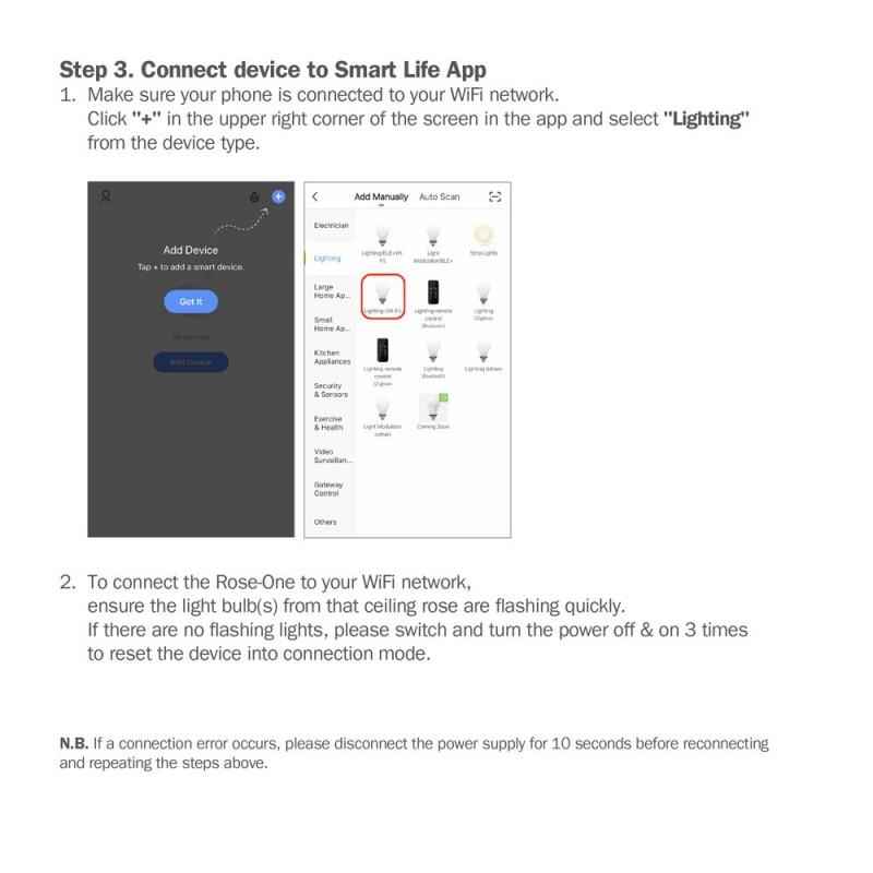 Rosace XXL Rose-One SMART carrée, 400 mm avec 10 trous - compatible avec les assistants vocaux