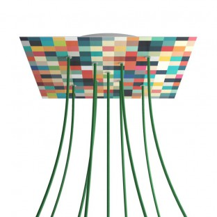 Rose-One compleet vierkant plafondkap-kit 400 mm. met 9 gaten in X vorm en 4 zijgaten - PROMO