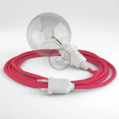 """""""Snake"""" hanglamp met extra lang strijkijzersnoer fuchsia viscose RM08"""
