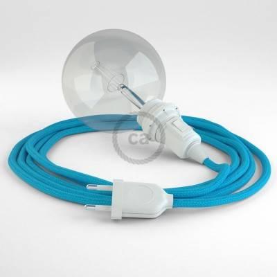 """""""Snake"""" hanglamp met extra lang strijkijzersnoer hemelsblauw viscose RM11"""