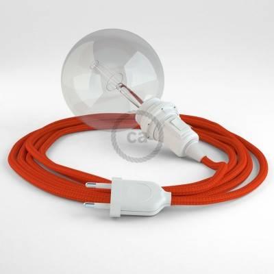 """Snake"" hanglamp met extra lang strijkijzersnoer oranje viscose RM15"