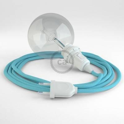 """""""Snake"""" hanglamp met extra lang strijkijzersnoer baby blauw viscose RM17"""