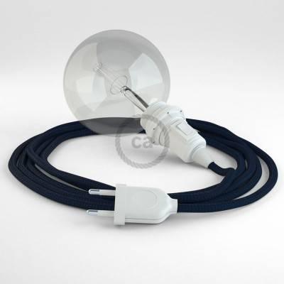 """""""Snake"""" hanglamp met extra lang strijkijzersnoer donkerblauw viscose RM20"""