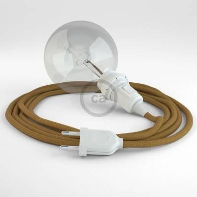 """""""Snake"""" hanglamp met extra lang strijkijzersnoer honing goud katoen RC31"""