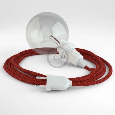 """""""Snake"""" hanglamp met extra lang strijkijzersnoer duivelsroodl viscose RT94"""