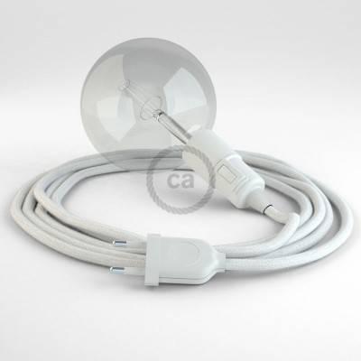 """""""Snake"""" snoerlamp met extra lang strijkijzersnoer wit katoen RC01"""