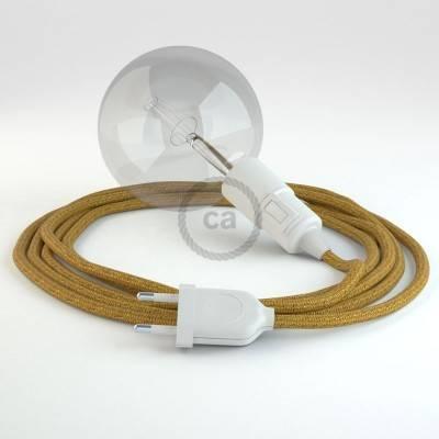 """Snake"" snoerlamp met extra lang strijkijzersnoer goud glinsterend viscose RL05"
