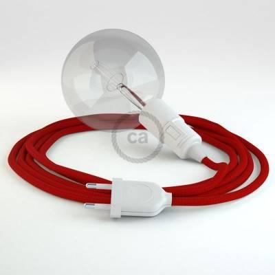 """""""Snake"""" snoerlamp met extra lang strijkijzersnoer rood viscose RM09"""