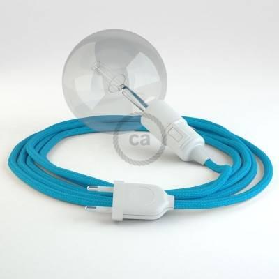 """""""Snake"""" snoerlamp met extra lang strijkijzersnoer hemelsblauw viscose RM11"""