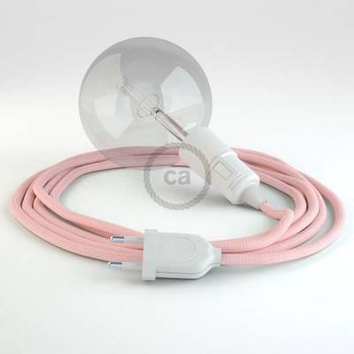 """""""Snake"""" snoerlamp met extra lang strijkijzersnoer baby roze viscose RM16"""