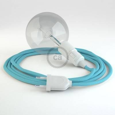 """""""Snake"""" snoerlamp met extra lang strijkijzersnoer baby blauw viscose RM17"""