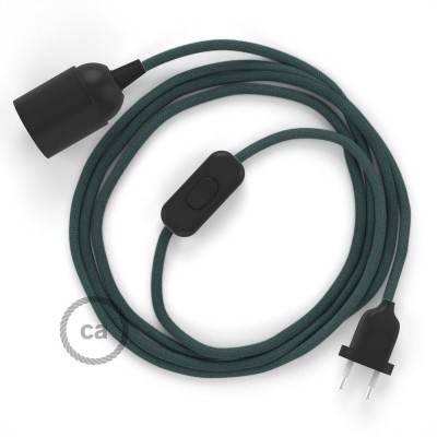 SnakeBis cordon avec douille et câble textile Coton Gris Pierre RC30