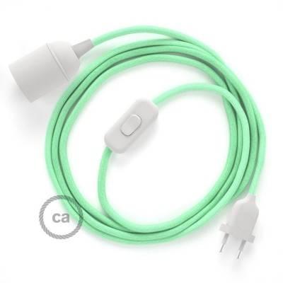 SnakeBis cordon avec douille et câble textile Coton Lait Menthe RC34