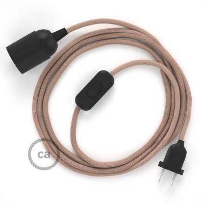 SnakeBis cordon avec douille et câble textile ZigZag Vieux Rose RD71