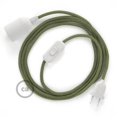 SnakeBis cordon avec douille et câble textile ZigZag Vert Thym RD72