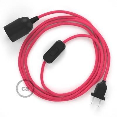 SnakeBis cordon avec douille et câble textile Effet Soie Fuchsia RM08