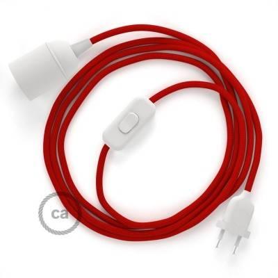 SnakeBis bedradingsset met fitting en strijkijzersnoer - rood viscose RM09