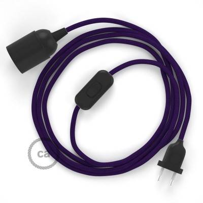 SnakeBis cordon avec douille et câble textile Effet Soie Violet RM14