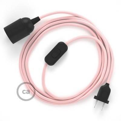 SnakeBis cordon avec douille et câble textile Effet Soie Rose Baby RM16