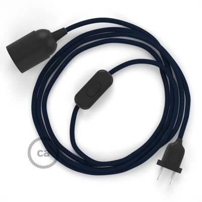 SnakeBis bedradingsset met fitting en strijkijzersnoer - donkerblauw viscose RM20