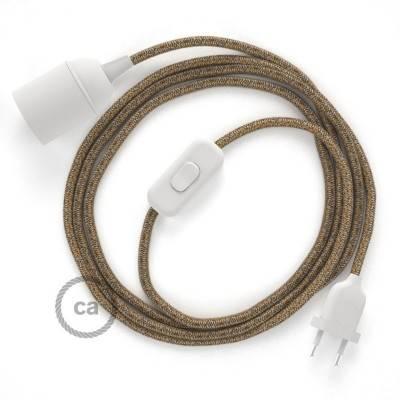 SnakeBis bedradingsset met fitting en strijkijzersnoer - bruin katoen en natuurlijk linnen RS82