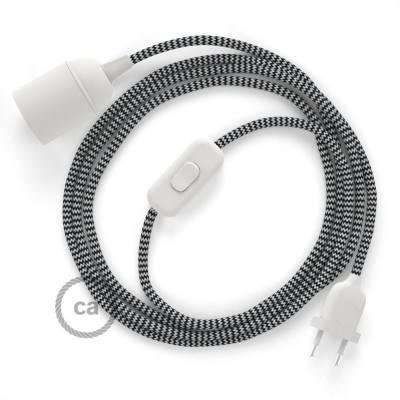SnakeBis cordon avec douille et câble textile ZigZag Noir RZ04
