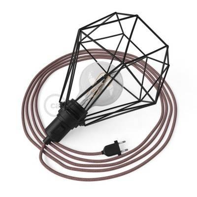 Table Snake, met zwart metalen Diamond E27 draadframe lampenkap met platte EU stekker