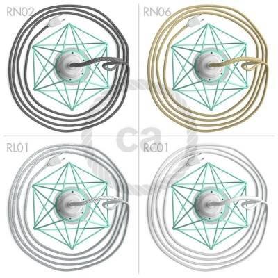 Table Snake, met turquoise metalen Diamond E27 draadframe lampenkap met platte EU stekker