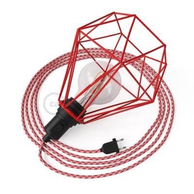 Table Snake avec cage abat-jour Diamond rouge et fiche à deux pôles